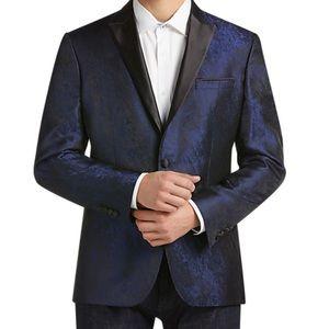 Awearness Kenneth Cole Blue Jacquard Jacket 38R